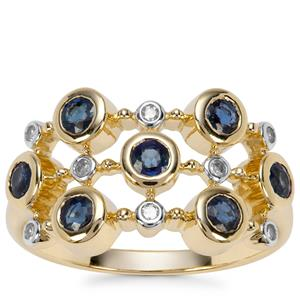 Natural Nigerian Blue Sapphire Ring with Diamond in 9K Gold 0.98ct