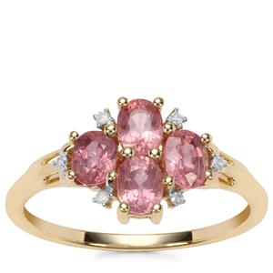 Padparadscha Sapphire Ring with Diamond in 10K Gold 1.40cts