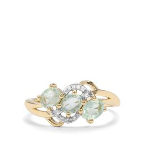 Paraiba Tourmaline Ring with Diamond in 10k Gold 0.82ct