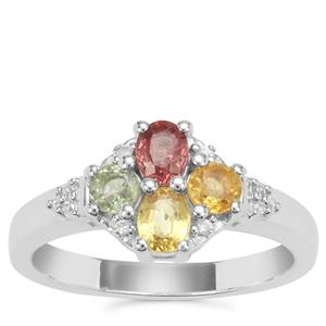 Songea Rainbow Sapphire Ring with White Zircon in Sterling Silver 1.20cts