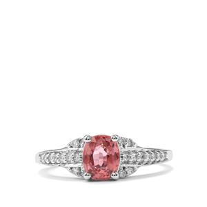 Padparadscha Sapphire Ring with Diamond in 18K White Gold 1.34cts