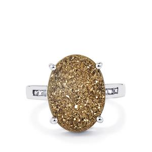 Champagne Drusy & White Zircon Sterling Silver Ring ATGW 7.47cts