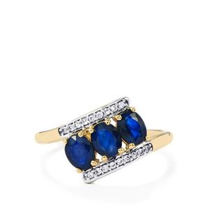 Sri Lankan Sapphire Ring with White Zircon in 10k Gold 1.51cts
