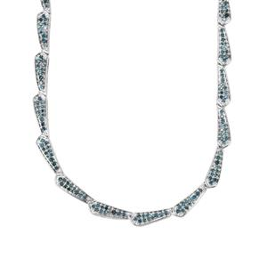 Blue Diamond Necklace in Sterling Silver 3.13cts