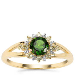 Chrome Diopside, Peridot Ring with White Zircon in 9K Gold 0.89ct