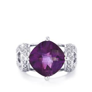 Zambian Amethyst & White Topaz Sterling Silver Ring ATGW 3.94cts