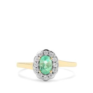 Colombian Emerald Ring with White Zircon in 9K Gold 0.81ct