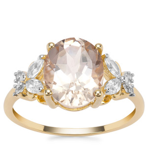 Champagne Danburite Ring with White Zircon in 9K Gold 3.68cts