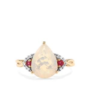 Ethiopian Opal, Cruzeiro Rubellite Ring with White Zircon in 10K Gold 2.09cts
