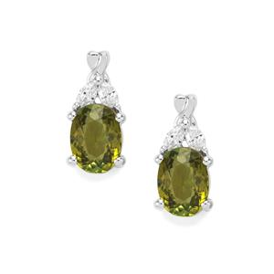 Cuprian Tourmaline Earrings with Diamond in 18K White Gold 1.60cts