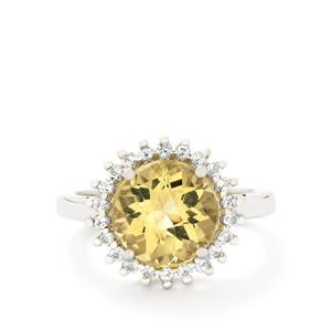 Amarelo Beryl & White Topaz Sterling Silver Ring ATGW 3.69cts