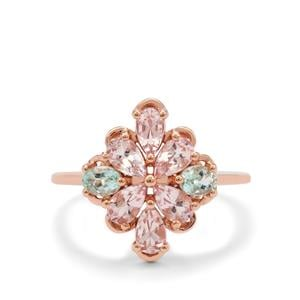 Cherry Blossom Morganite Ring with Aquaiba™ Beryl in 9K Rose Gold 1.45cts