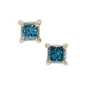 Blue Diamond Earrings in 9K Gold 0.25ct