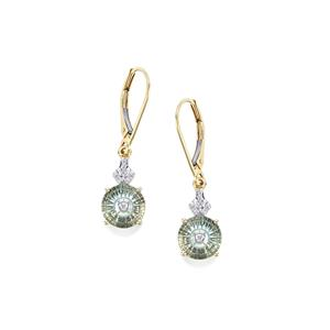 Lehrer TorusRing Sky Blue Topaz Earrings with Diamond in 10K Gold 3.61cts
