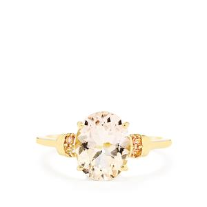 Mutala Morganite Ring with Pink Tourmaline in 9K Gold 2.25cts