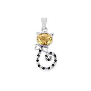 Champagne Quartz, Black Spinel Mau Pendant with White Topaz in Sterling Silver 1.93cts