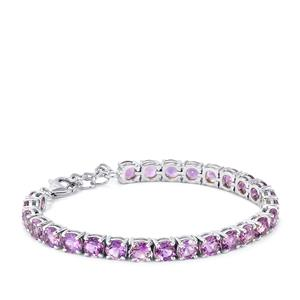 14.05ct Rose De France Amethyst Sterling Silver Bracelet