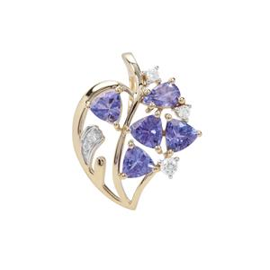 AA Tanzanite Pendant with White Zircon in 9K Gold 2.07cts