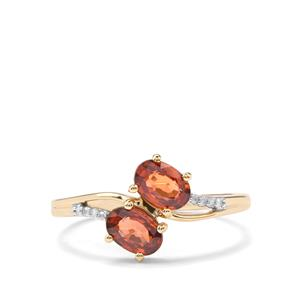 Cognac Zircon Ring with Diamond in 10K Gold 1.51cts