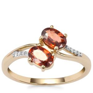 Cognac Zircon Ring with Diamond in 9K Gold 1.51cts