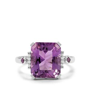 Barion Cut Zambian Amethyst & White Zircon Sterling Silver Ring ATGW 5.49cts