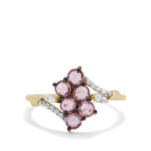 Rose cut Sakaraha Pink Sapphire & White Zircon 9K Gold Ring ATGW 1.06cts