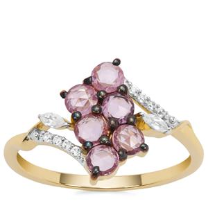 Rose cut Sakaraha Pink Sapphire Ring with White Zircon in 9K Gold 1.06cts