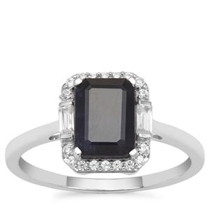 Ethiopian Blue Sapphire Ring with White Zircon in 9K White Gold 2.21cts