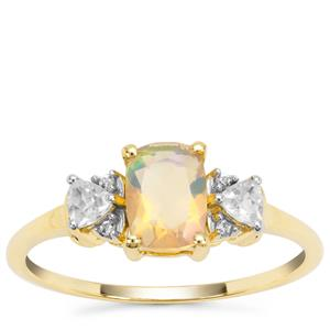 Ethiopian Opal Ring with White Zircon in 9k Gold 0.84ct