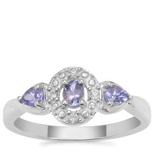 Tanzanite Ring with White Zircon in Sterling Silver 0.50ct