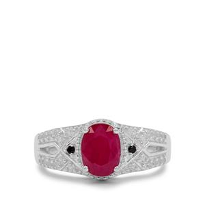 John Saul Ruby, Black Spinel Ring with White Zircon in Sterling Silver 2.05cts