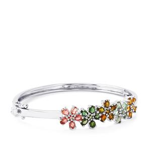 Rainbow Tourmaline Oval Bangle in Platinum Plated Sterling Silver 4.54cts