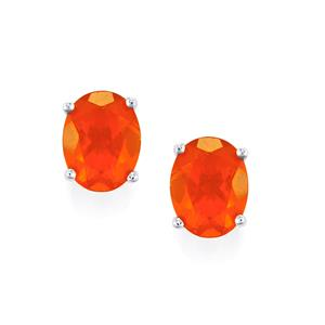 AA Orange American Fire Opal Earrings in 10k White Gold 2.44cts
