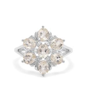 Serenite & White Zircon Sterling Silver Ring ATGW 2.43cts