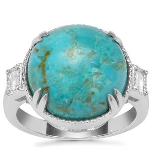 Cochise Turquoise Ring with White Zircon in Sterling Silver 9.76cts