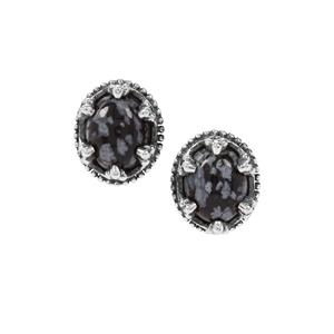 Snowflake Obsidian Earrings in Sterling Silver 5.14cts