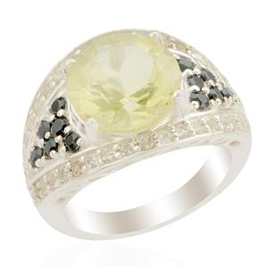Ouro Verde Quartz Ring with White Topaz in Sterling Silver 5.49cts