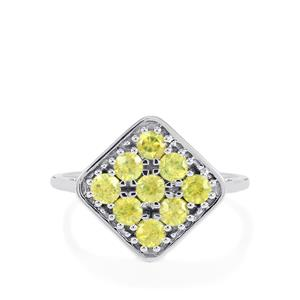Ambilobe Sphene Ring  in 14k White Gold 1.06cts