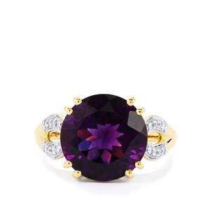 Moroccan Amethyst Ring with Diamond in 18k Gold 4.88cts