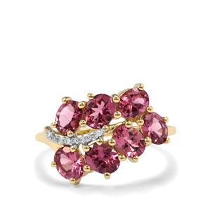 Mahenge Pink Spinel Ring with Diamond in 10K Gold 2.47cts