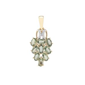 Green Sapphire Pendant with Diamond in 9K Gold 2.85cts