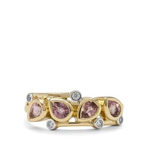 Padparadscha Sapphire Ring with White Zircon in 9K Gold 1.30cts