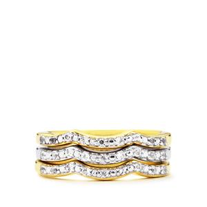 White Topaz Set of 3 Stacker Rings in Two Tone Gold Plated Sterling Silver 0.30ct