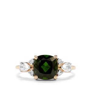 Chrome Diopside & White Zircon 9K Gold Ring ATGW 2.85cts