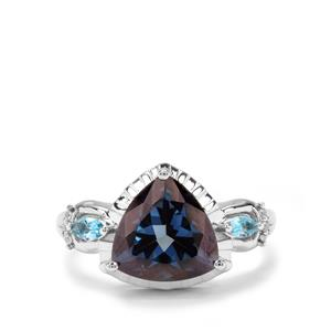 Hope, Swiss Blue Topaz & White Zircon Sterling Silver Ring ATGW 4.28cts