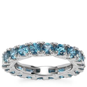 Marambaia London Blue Topaz Eternity Ring in Sterling Silver 4.16cts
