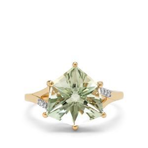 Alpine Cut Prasiolite Ring with Diamond in 9K Gold 4.35cts
