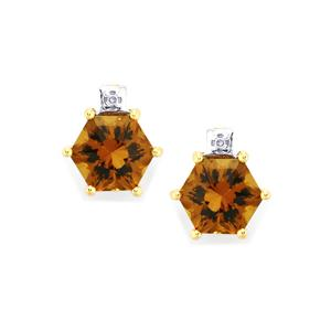 Whisky Quartz Polaris Earrings with Diamond in 10K Gold 3.04cts