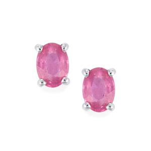 Ilakaka Hot Pink Sapphire Earrings in Sterling Silver 2.28cts (F)