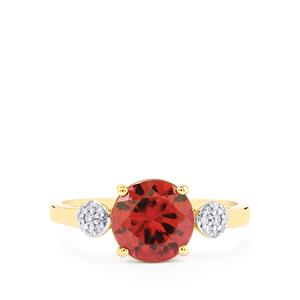 Zanzibar Zircon Ring with Diamond in 14k Gold 3.42cts